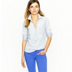 J. Crew Faded Chambray Popover Button Down Shirt